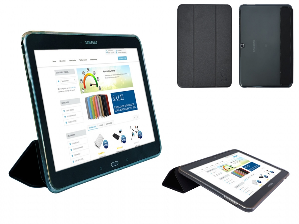 Samsung Galaxy Tab 4 10.1 Siliconen Case met TriFold cover