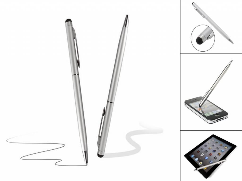 Stylus Pen met Balpen | Geschikt voor Akai Kids tablet 7 | Zilver