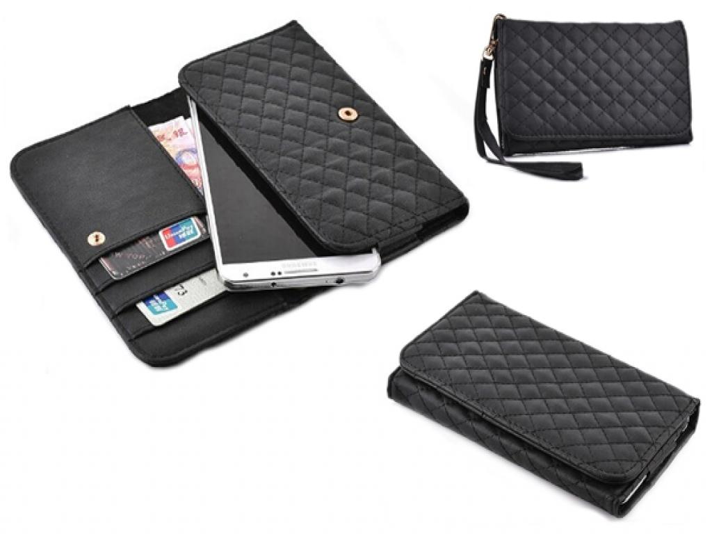 Sony Xperia z3 plus hand tasje met gestikt ruitjes patroon