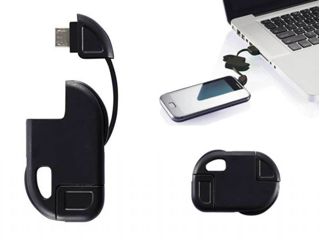 Compacte Micro USB laadkabel voor aan sleutelhanger