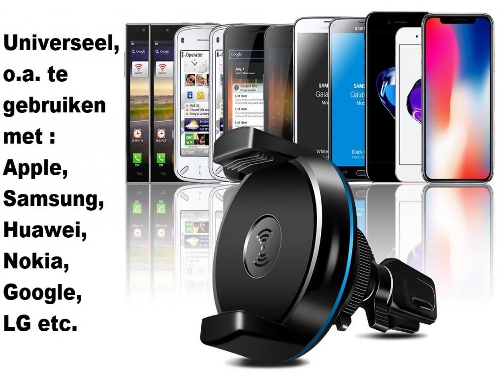 Apple Iphone 8 plus ventilatie telefoonhouder met QI oplader