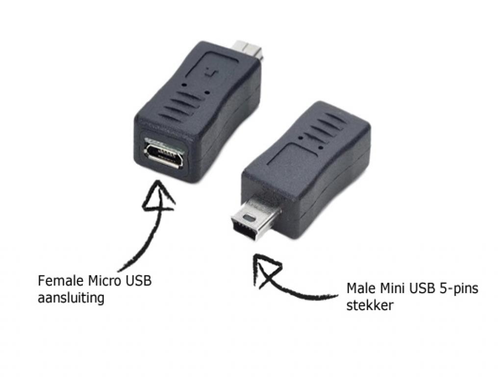 Micro USB naar Mini USB verloopstekker Prowise Android 4.2